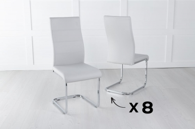 Set of 8 Malibu Light Grey Faux Leather Dining Chair