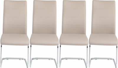 4 x Urban Deco Malibu Taupe Faux Leather Swing Dining Chair