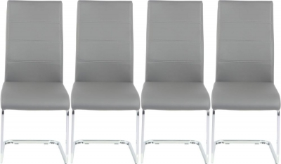 4 x Urban Deco Malibu Grey Faux Leather Swing Dining Chair