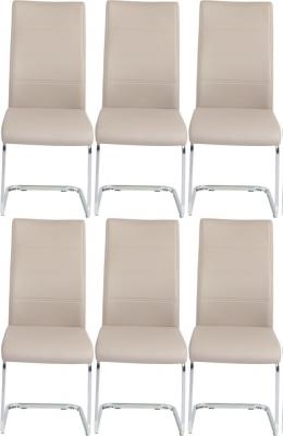 6 x Urban Deco Malibu Taupe Faux Leather Swing Dining Chair