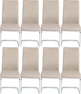 8 x Urban Deco Malibu Taupe Faux Leather Swing Dining Chair