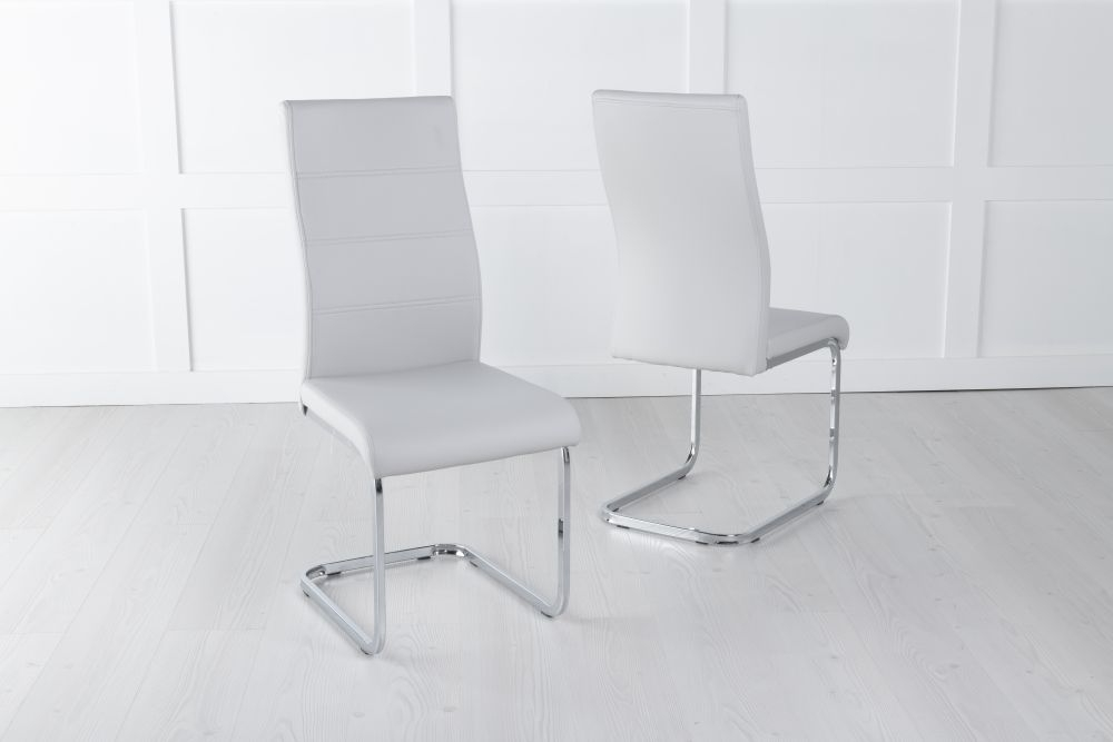 Malibu Light Grey Faux Leather Dining Chair
