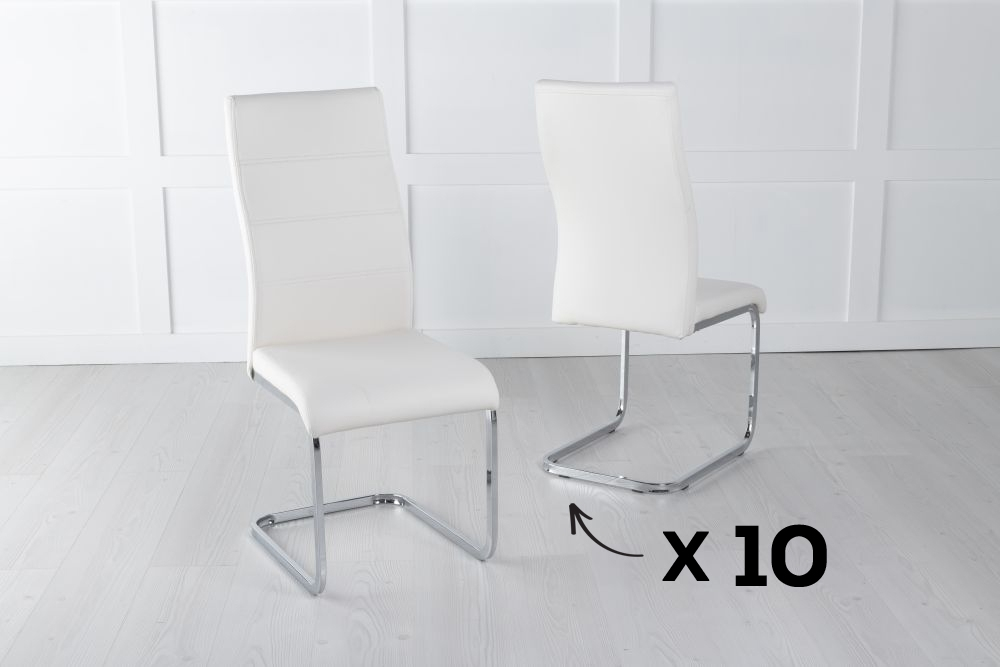 Set of 10 Malibu Metal Cream Dining Chair