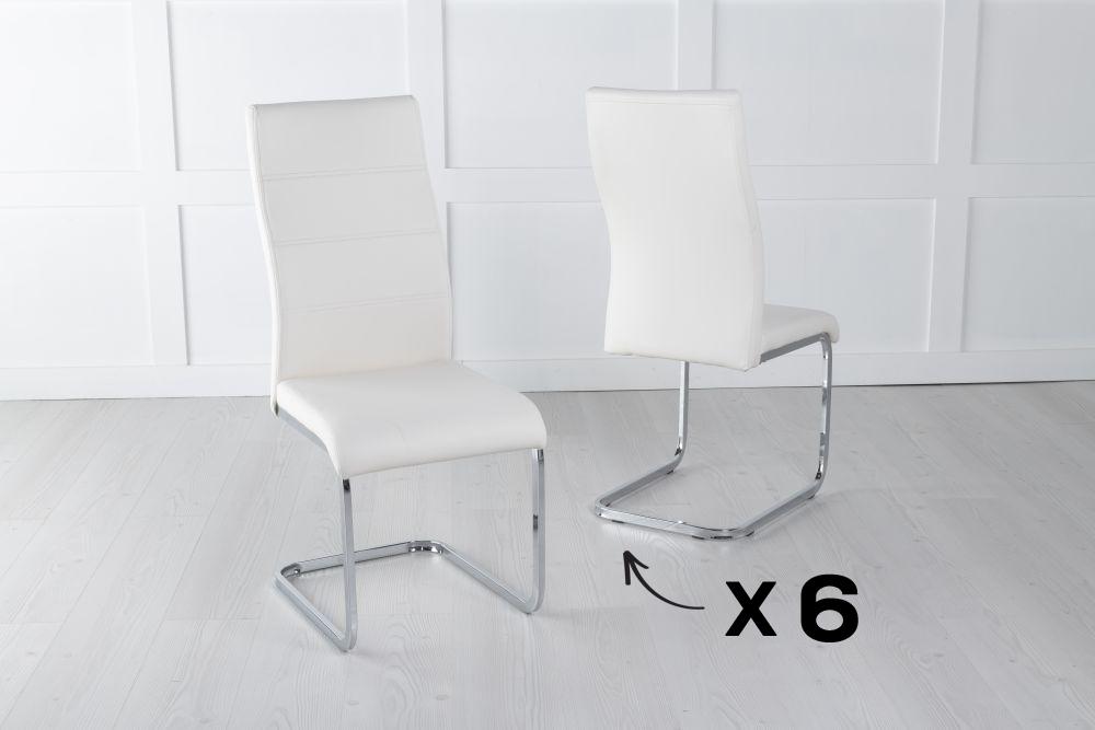 Set of 6 Malibu Metal Cream Dining Chair