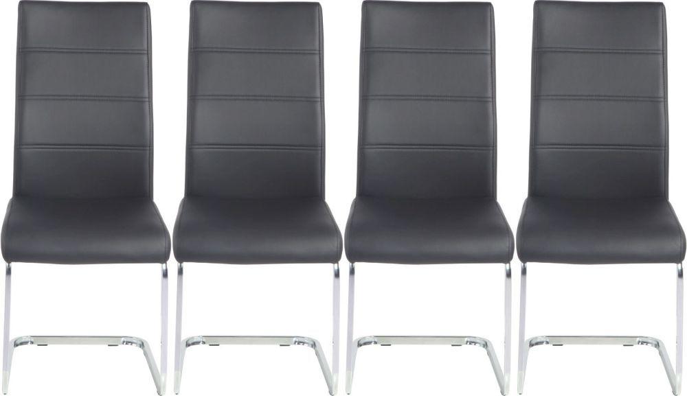 4 x Urban Deco Malibu Black Faux Leather Swing Dining Chair