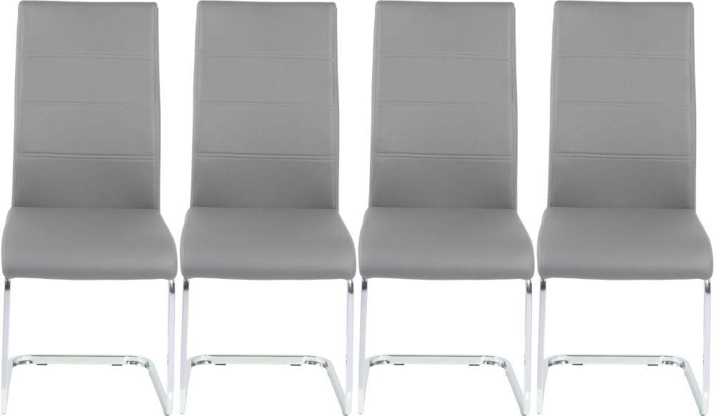 4 x Urban Deco Malibu Grey Faux Leather Swing Dining Chair