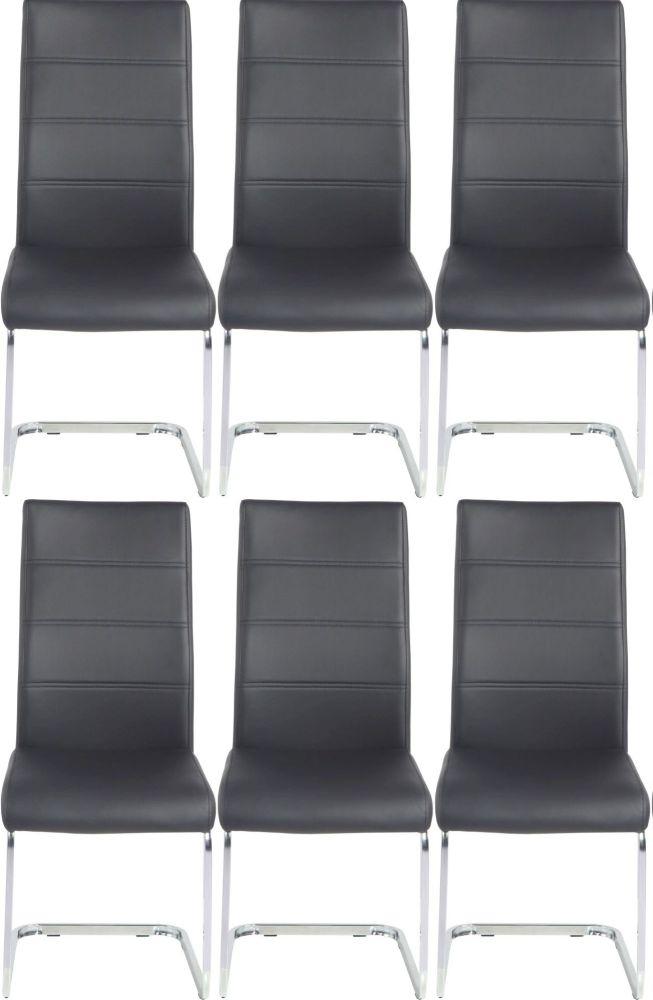 6 x Urban Deco Malibu Black Faux Leather Swing Dining Chair