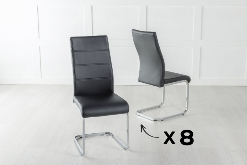 Set of 8 Malibu Black Faux Leather Dining Chair