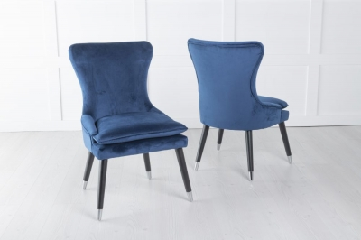 Mason Padded Dining Chair with Silver Caps Black Legs - Blue Velvet