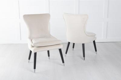 Mason Champagne Velvet Padded Dining Chair with Black Legs