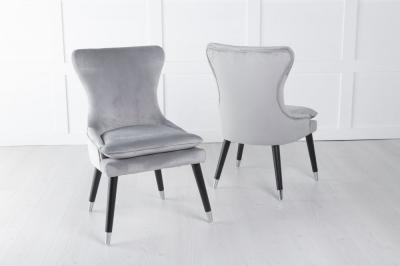Mason Light Grey Velvet Padded Dining Chair with Black Legs