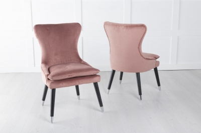 Mason Pink Velvet Padded Dining Chair with Black Legs