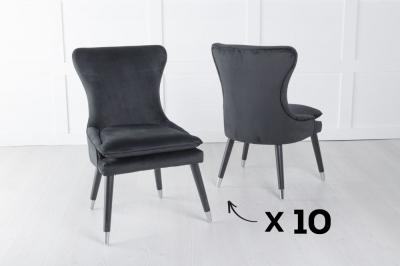 Mason Set of 10 Padded Dining Chair with Silver Caps Black Legs - Black Velvet