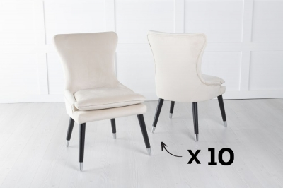 Mason Set of 10 Padded Dining Chair with Silver Caps Black Legs - Champagne Velvet