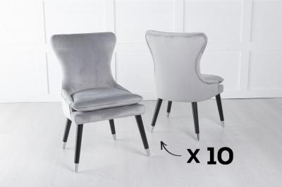 Set of 10 Mason Light Grey Velvet Padded Dining Chair with Black Legs