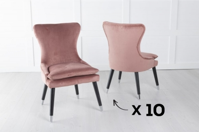 Mason Set of 10 Padded Dining Chair with Silver Caps Black Legs - Pink Velvet