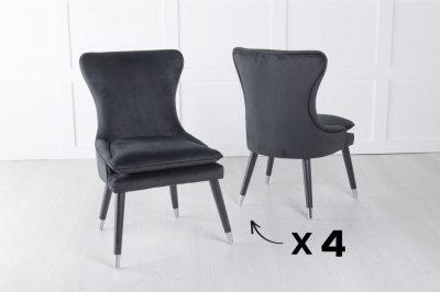 Set of 4 Mason Black Velvet Padded Dining Chair with Black Legs