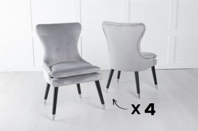 Set of 4 Mason Light Grey Velvet Padded Dining Chair with Black Legs