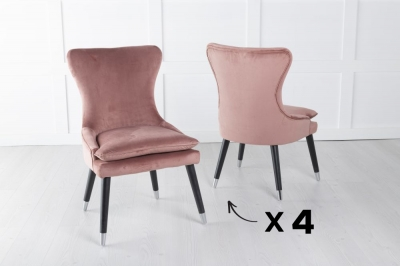 Mason Set of 4 Padded Dining Chair with Silver Caps Black Legs - Pink Velvet