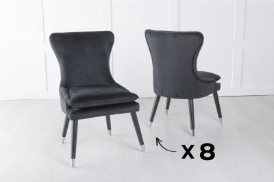 Mason Set of 8 Padded Dining Chair with Silver Caps Black Legs - Black Velvet