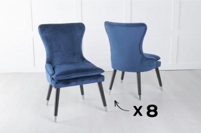 Mason Set of 8 Padded Dining Chair with Silver Caps Black Legs - Blue Velvet