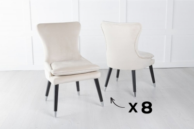 Mason Set of 8 Padded Dining Chair with Silver Caps Black Legs - Champagne Velvet