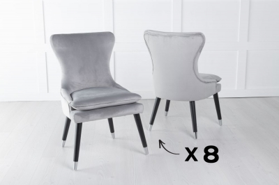 Mason Set of 8 Padded Dining Chair with Silver Caps Black Legs - Light Grey Velvet