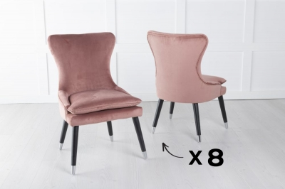Mason Set of 8 Padded Dining Chair with Silver Caps Black Legs - Pink Velvet