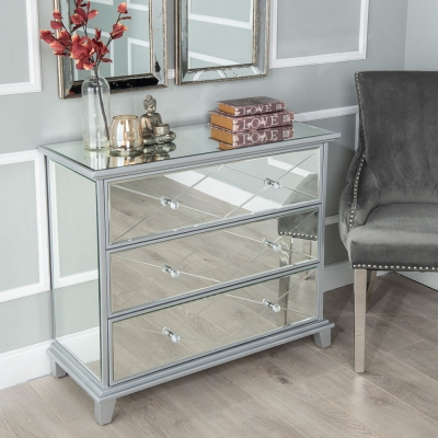 Urban Deco Mayfair Mirrored 3 Drawer Wide Chest