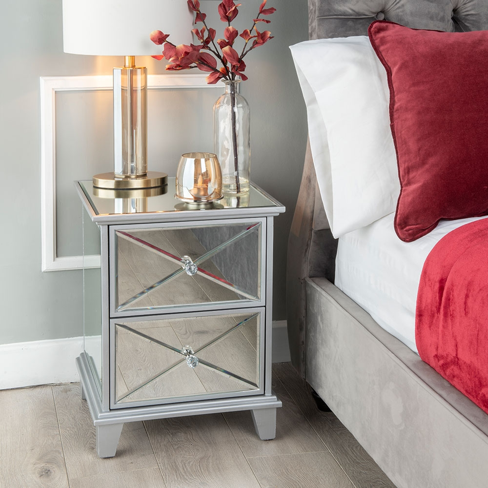 Mayfair Mirrored 2 Drawer Bedside Cabinet