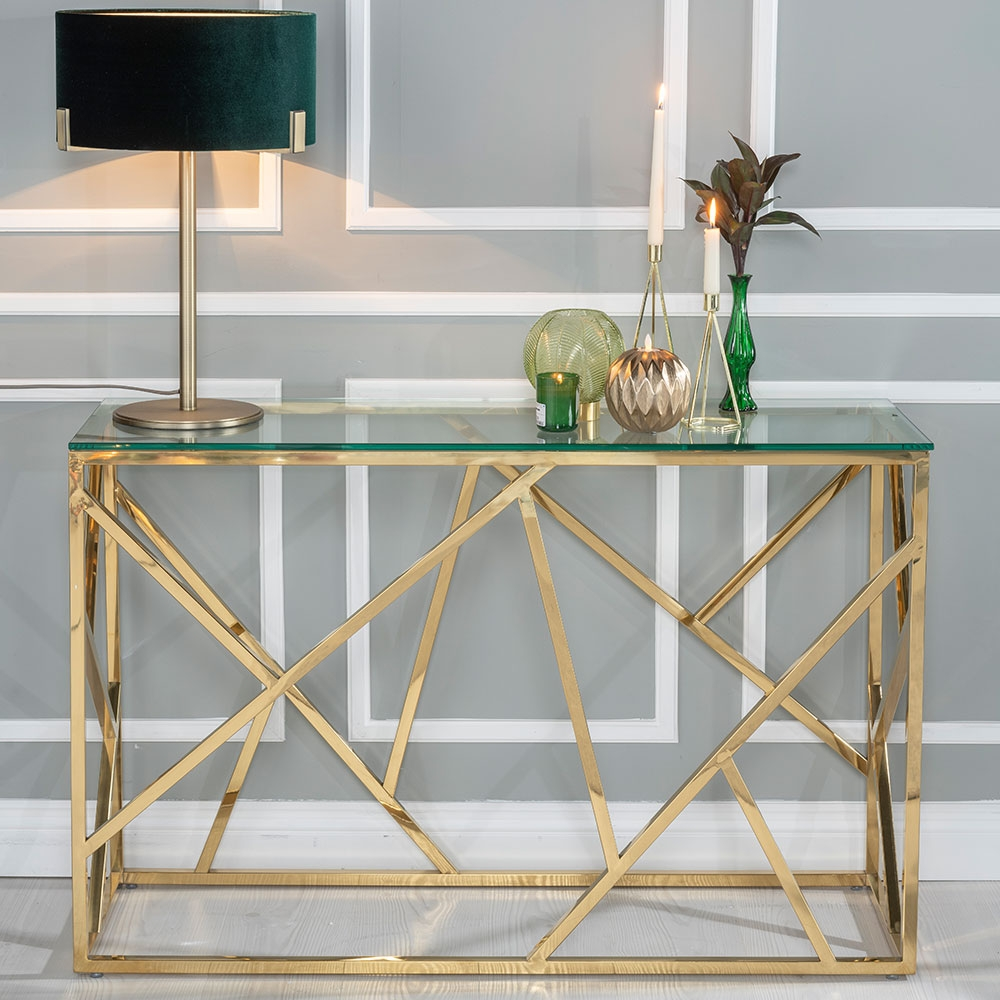 Urban Deco Maze Glass and Gold Console Table