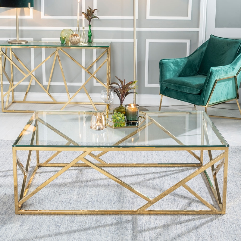 Urban Deco Maze Coffee Table - Glass and Stainless Steel Gold