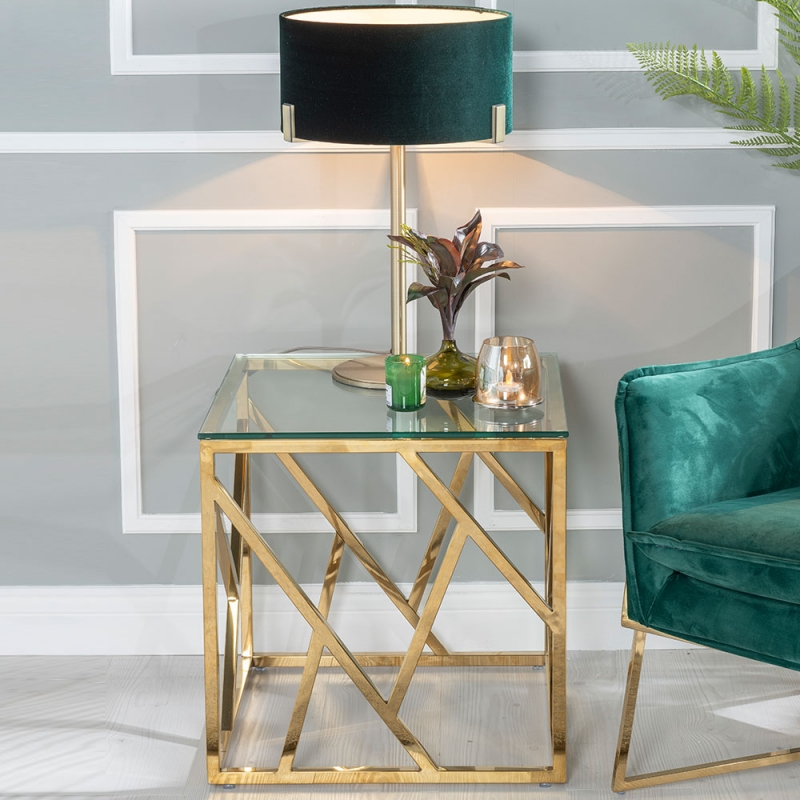 Urban Deco Maze Side Table - Glass and Stainless Steel Gold