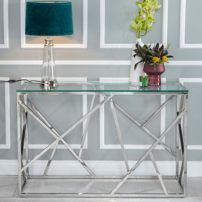 Urban Deco Maze Glass and Chrome Console Table