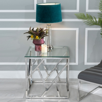 Urban Deco Maze Side Table - Glass and Stainless Steel Chrome