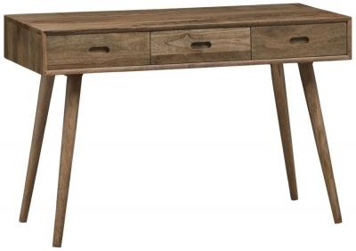 Mid Century Rustic Solid Light Mango Wood 3 Drawer Writing Desk