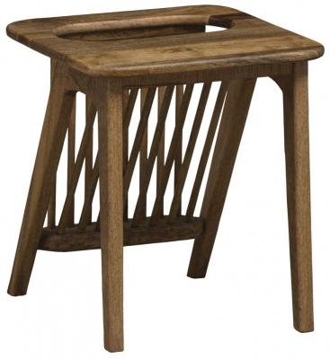 Mid Century Rustic Solid Light Mango Wood Side Table with Magazine Rack