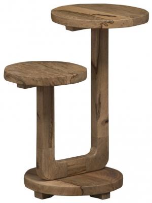 Mid Century Rustic Solid Light Mango Wood Telephone/ Plant Stand