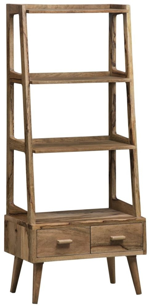 Mid Century Rustic Solid Light Mango Wood Open Shelving Unit with 2 Drawers