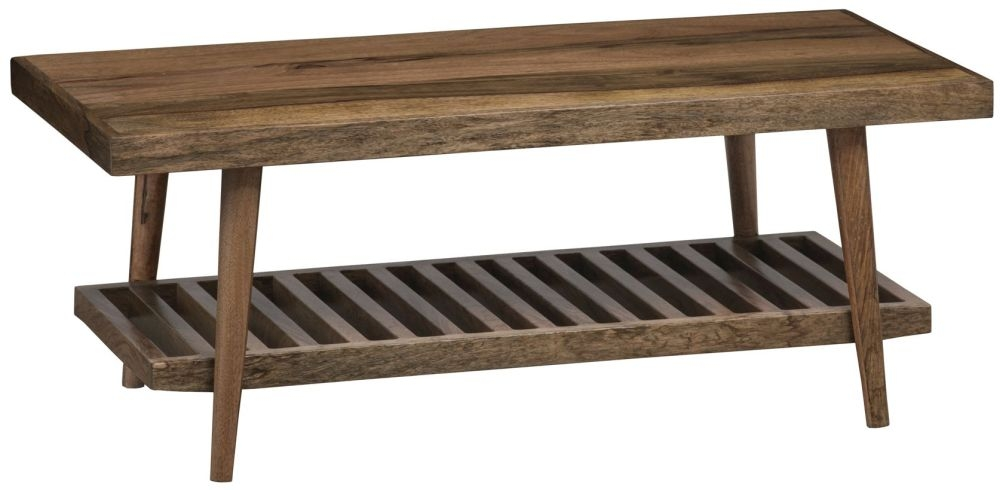 Mid Century Rustic Solid Light Mango Wood Coffee Table with Shelf