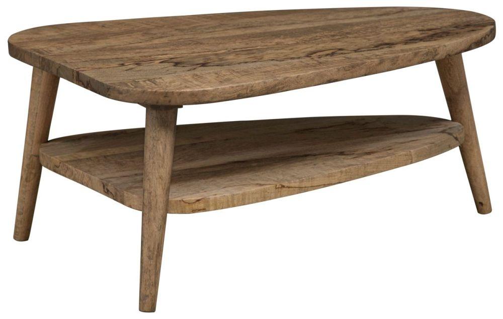 Mid Century Rustic Solid Light Mango Wood Heart Shaped Coffee Table
