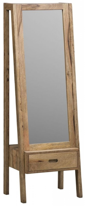 Mid Century Rustic Solid Light Mango Wood Cheval Standing Mirror with 1 Drawer