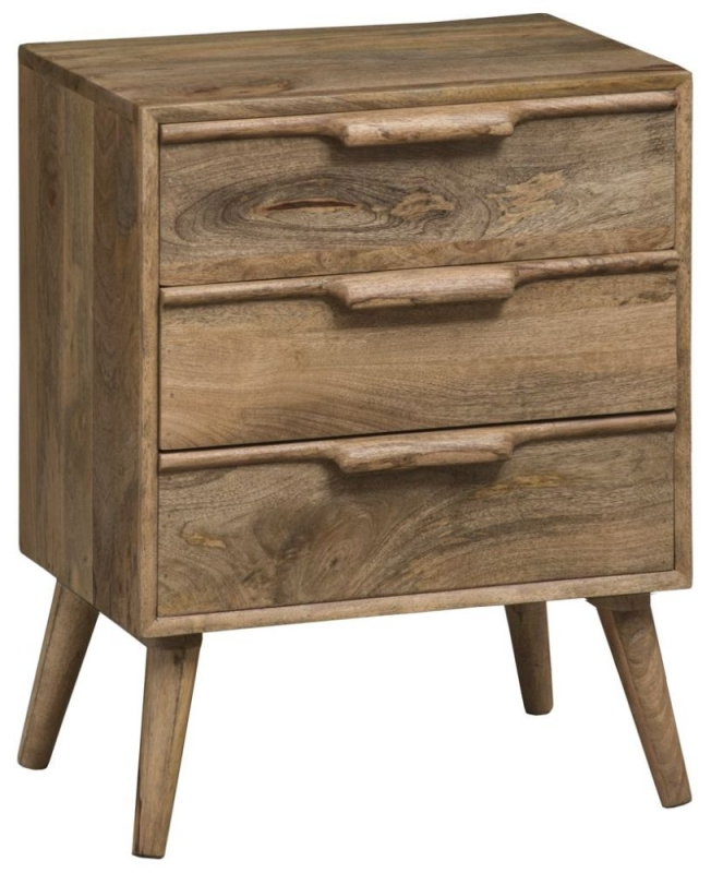 Mid Century Rustic Solid Light Mango Wood 3 Drawer Bedside Cabinet