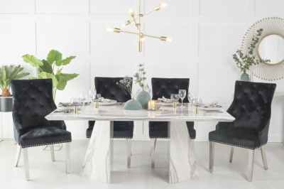 Buy Urban Deco Midas Grey and White Marble Double Pedestal 180cm Dining Table with 4 Black Knockerback Chrome Leg Chairs and Get 2 Extra Chairs Worth £398 For FREE