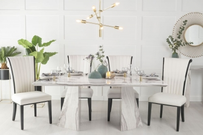 Buy Urban Deco Midas Grey and White Marble Double Pedestal 200cm Dining Table with 4 Cadiz White Chairs and Get 2 Extra Chairs Worth £358 For FREE