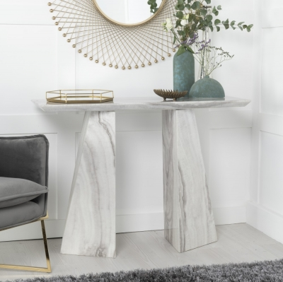 Urban Deco Midas Grey and White Marble Double Pedestal Console Table
