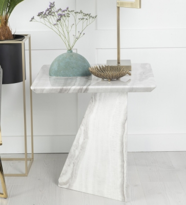 Urban Deco Midas Grey and White Marble Lamp Table