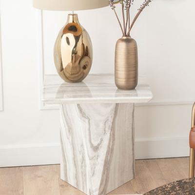 Urban Deco Midas Grey Marble Single Pedestal Lamp Table