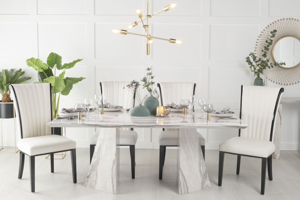 Buy Urban Deco Midas Grey Marble Double Pedestal 180cm Dining Table with 4 Cadiz White Chairs and Get 2 Extra Chairs Worth £298 For FREE