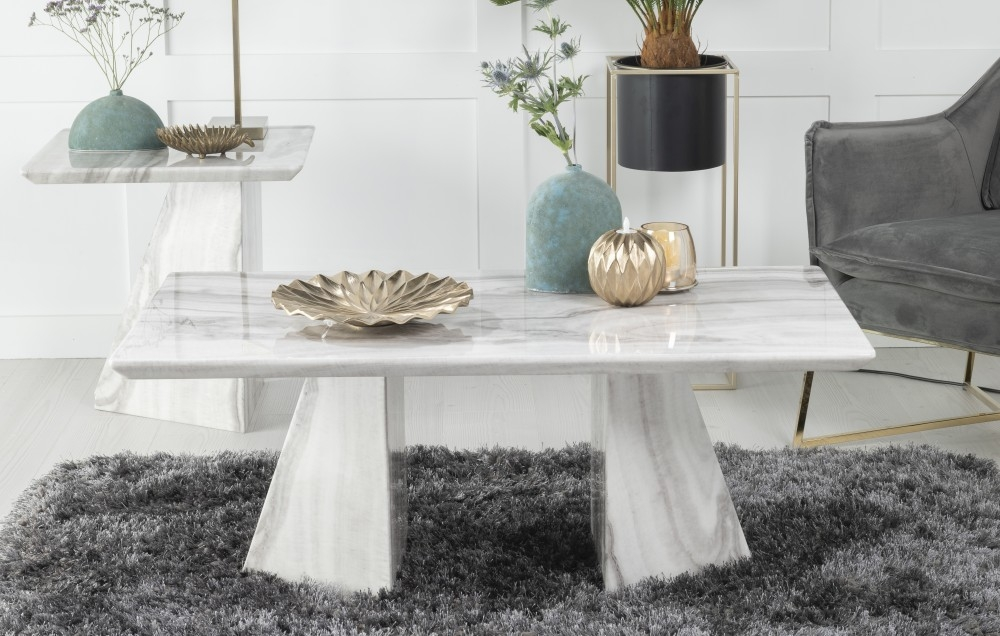 Urban Deco Midas Grey and White Marble Coffee Table